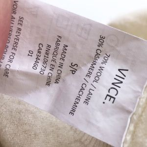 Vince Sweaters - VINCE OFF WHITE WOOL CASHMERE BLEND SWEATER